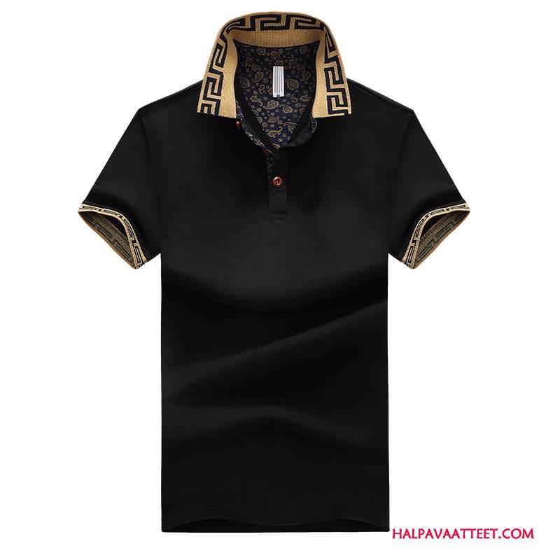 Miesten Pikeepaita Kauppa Casual Käänne Yksinkertainen T-paita Miehille Musta
