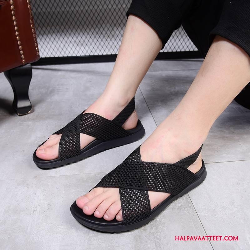 Miesten Sandaalit Verkossa Rannalle Suuntaus Kengät Rooma Muoti Musta