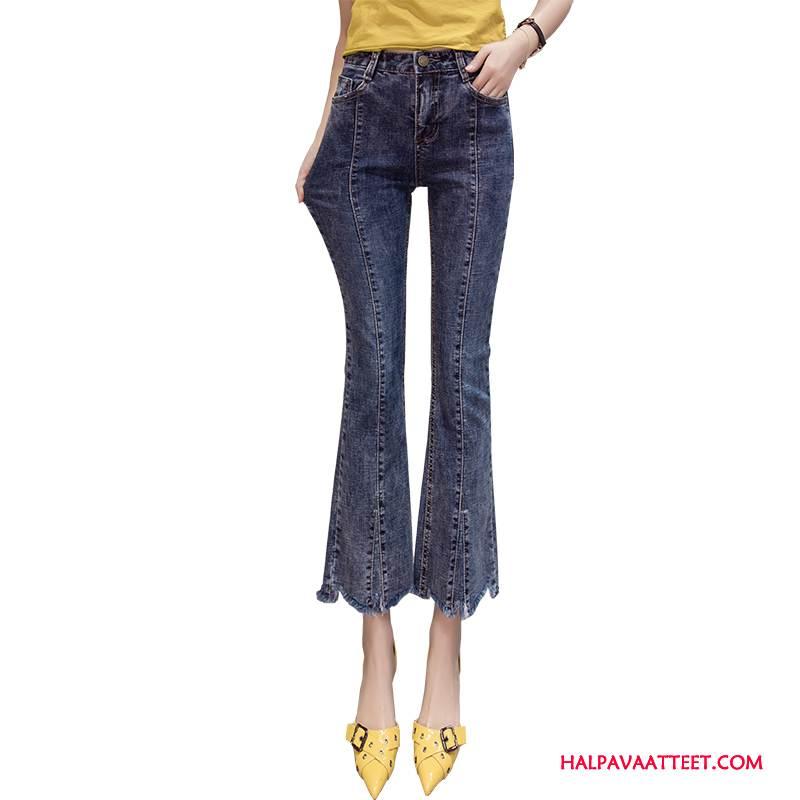 Naisten Farkut Halpa Ohut Lisää Taskuja Vintage Kevät Naarmu Sininen