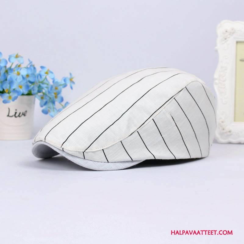 Naisten Hattu Myynti Raidallinen Korkki Puuvilla Kevät Naisille Valkoinen