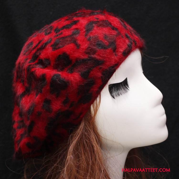 Naisten Hattu Verkossa Kanihiukset Painettu Maalari Leopardi Suuri Punainen