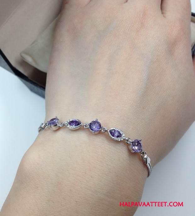 Naisten Hopeakoruja Osta Rannerengas Uusi Kristalli Lisälaitteet Naisille Violetti Hopea