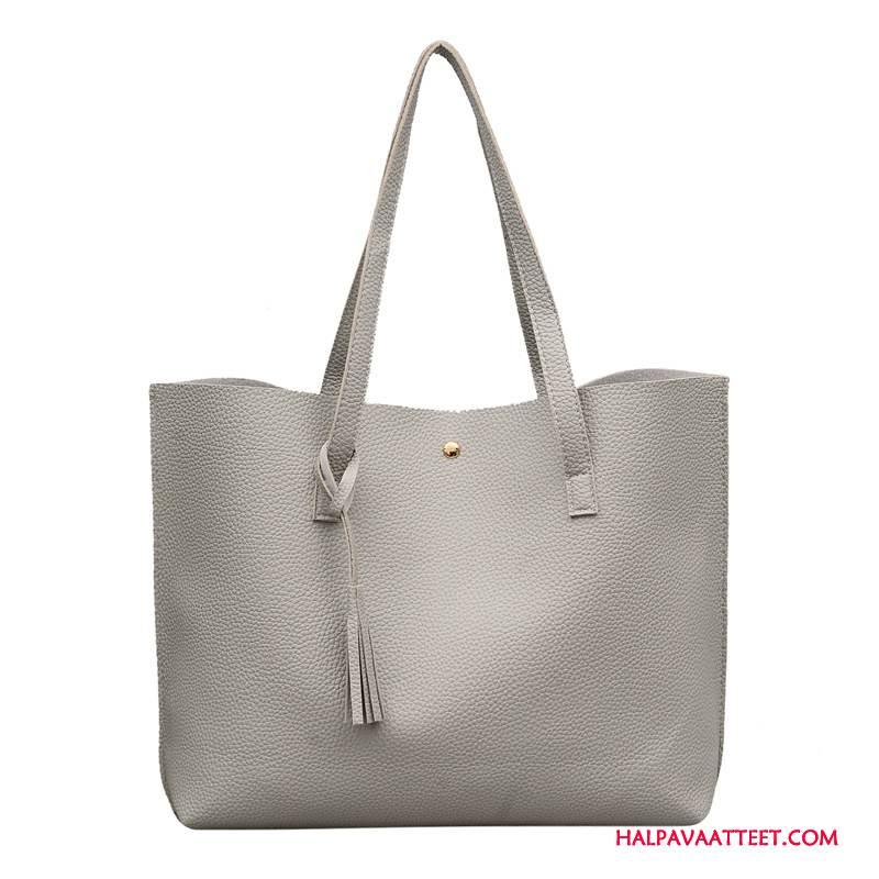 Naisten Käsilaukut Osta Naisille Käsilaukku Pompon Suuri Kapasiteetti Uusi Vaalean Harmaa
