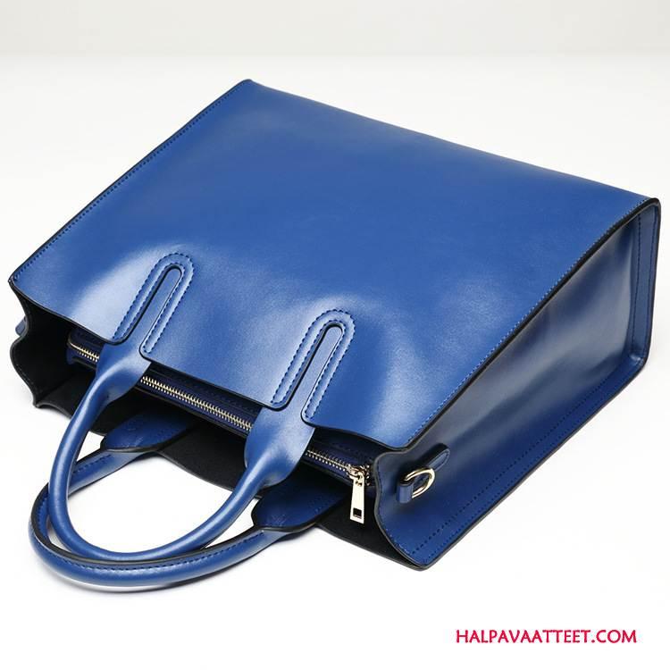 Naisten Käsilaukut Osta Suuri Kapasiteetti Käsilaukku Lyhyt Yksinkertainen Nahka Naisille Sininen