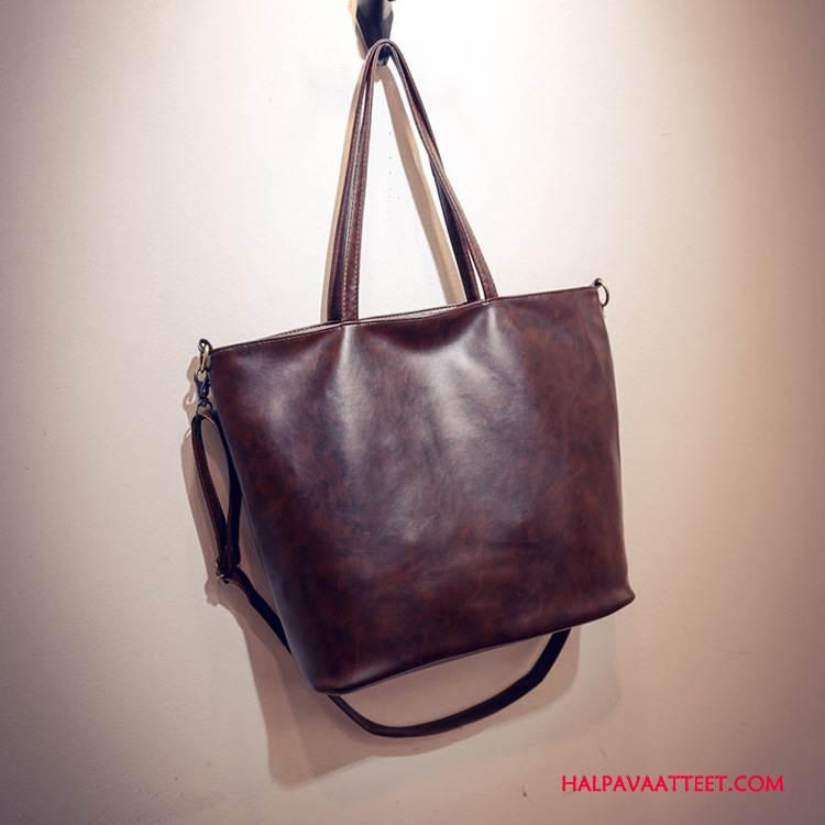 Naisten Käsilaukut Verkossa Uusi Vintage Käsilaukku Naisille Lyhyt Yksinkertainen Ruskea Tumman