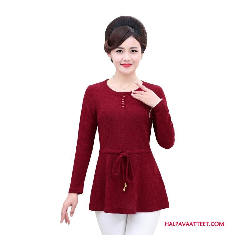 Naisten Keski-ikäiset Vaatteet Halpa Pullover Naisille Löysät Kevät Muoti Punainen