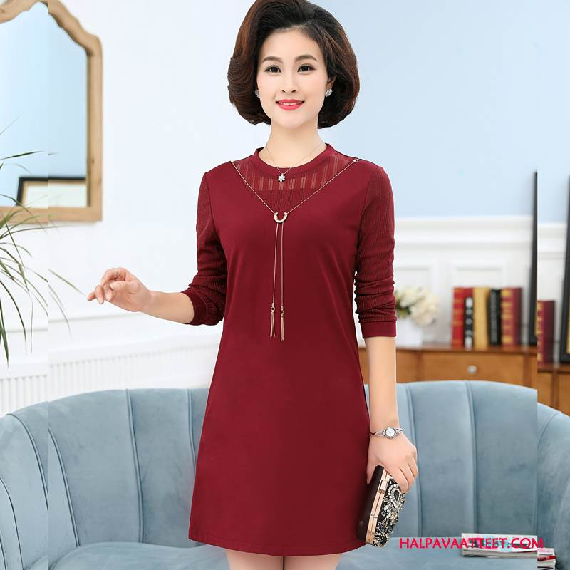 Naisten Keski-ikäiset Vaatteet Halvat Tiukka Pullover Löysät Muoti Naisille Punainen