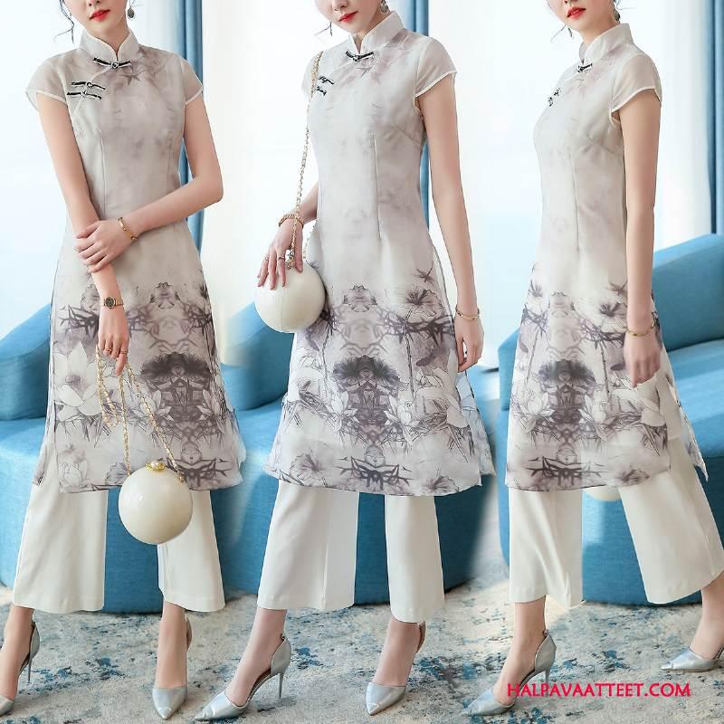 Naisten Leninki Halvat Vaatteet Lyhythihainen Kesä Muoti Painatus Valkoinen