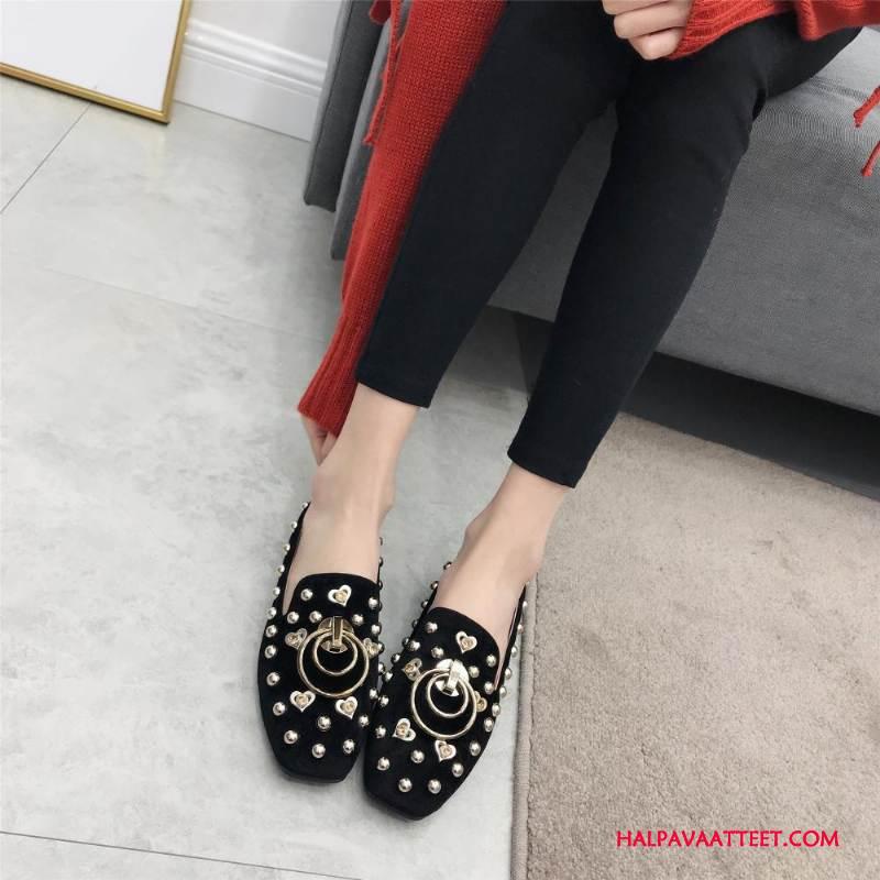 Naisten Mokkasiinit Halvat Kevät Strassi Kengät Naisille Derbies Musta Kultainen