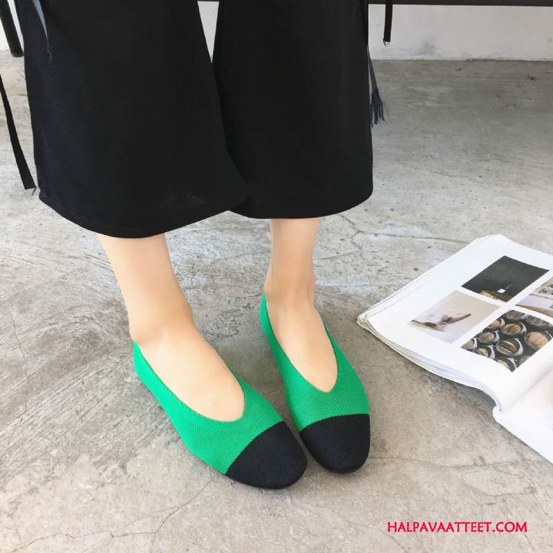 Naisten Mokkasiinit Myynti Kevät Kudonta Lennossa Iso Kengät Tasainen Värisävyt Vihreä