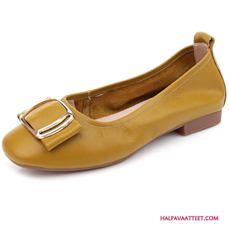 Naisten Mokkasiinit Osta Kesä Nahkakenkiä Derbies Kengät Purjehduskengät Keltainen