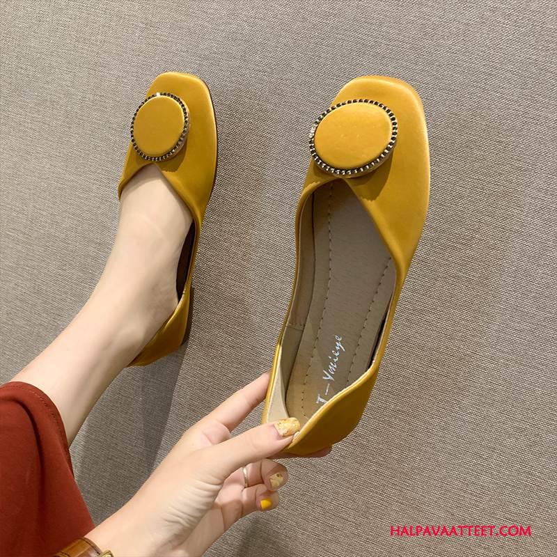 Naisten Mokkasiinit Osta Kesä Naisille Purjehduskengät Neliön Pää Litteät Kengät Vaalean Keltainen Punainen