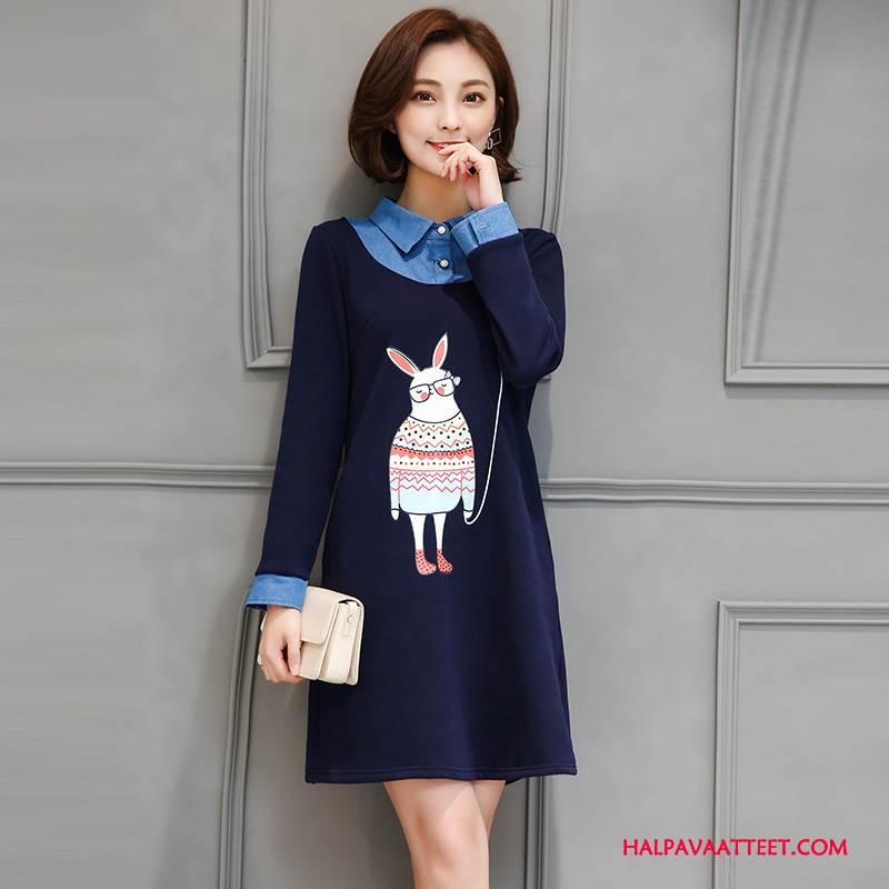 Naisten Plus Size Vaatteet Myynti Pitkässä Osassa Pullover Syksy Naisille Tyylikäs Tummansininen