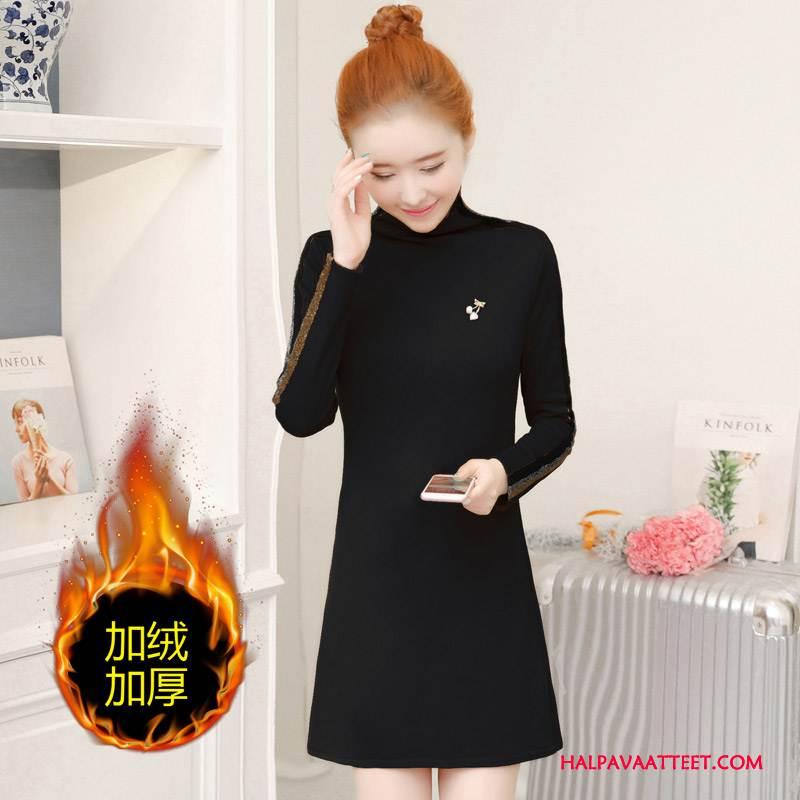 Naisten Plus Size Vaatteet Myynti Suora Suuri Koko Korkea Kaulus Pullover Talvi Puhdas Musta