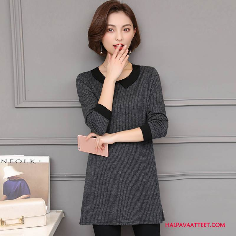 Naisten Plus Size Vaatteet Verkossa Muoti Kevät Casual Tyylikäs Pitkässä Osassa Värisävyt Tumman Harmaa