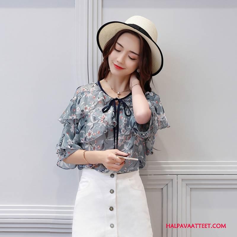 Naisten Pusero Halpa Pullover Lace Up Tyylikäs Kesä Sifonki Puhdas Sininen