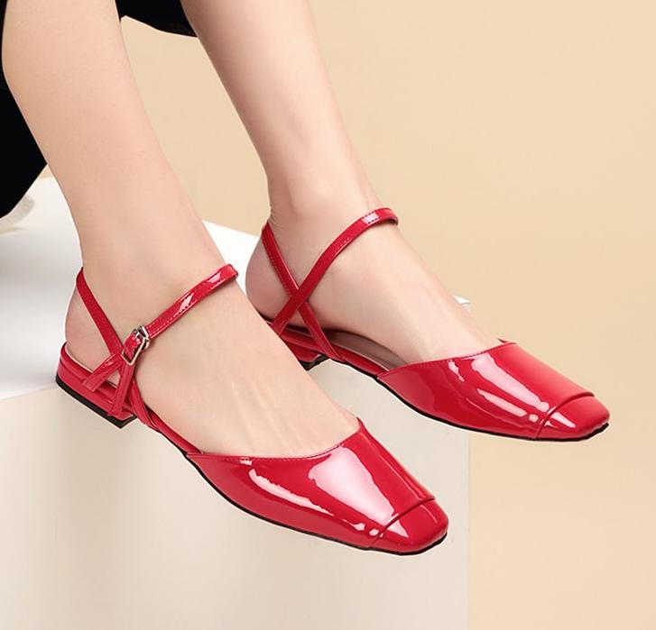 Naisten Sandaalit Halpa Kengät Neliön Pää Iso Patent Leather Kevät Punainen