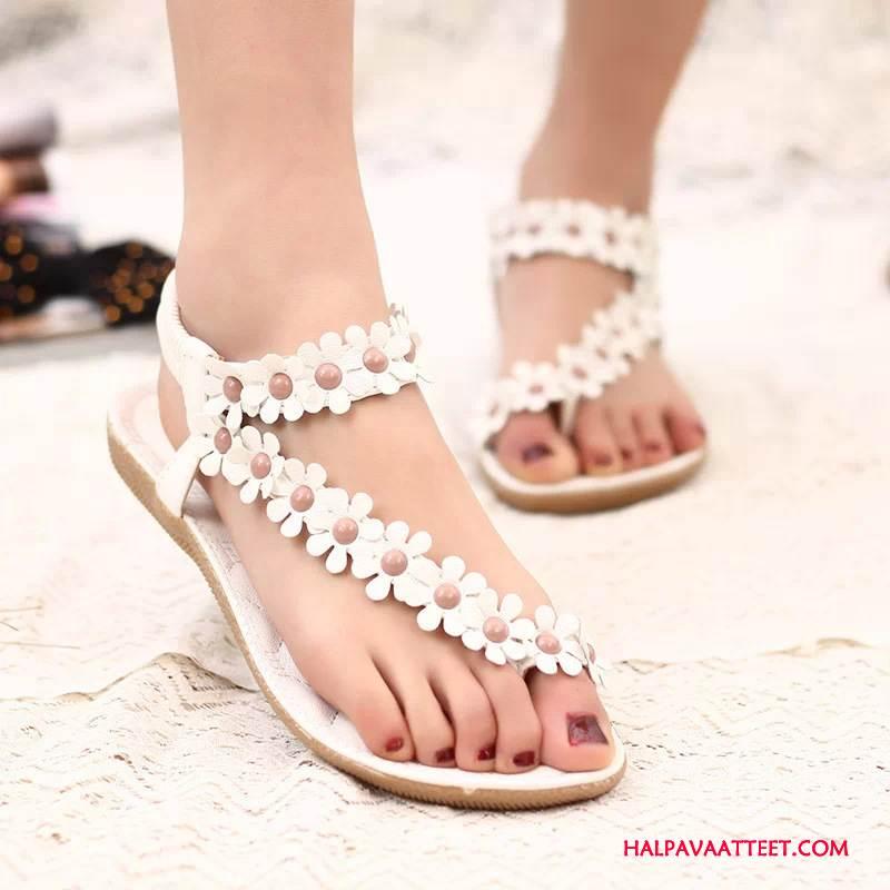 Naisten Sandaalit Halvat Kesä Suuri Koko Litteät Kukka Kengät Valkoinen Kermanvärisiä