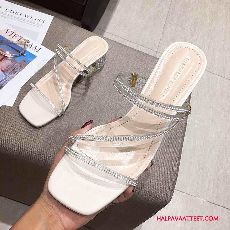 Naisten Sandaalit Halvat Korkokengät Kesä Paksu Hyvin Naisille Hopea