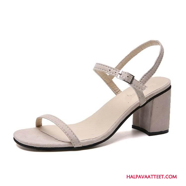 Naisten Sandaalit Osta Kesä Yksinkertainen Korko Naisille Paksu Valkoinen Kermanvärisiä