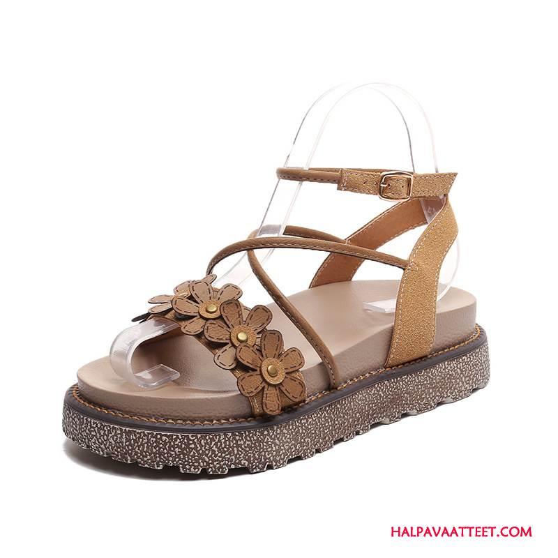 Naisten Sandaalit Osta Litteät Paksu Pohja Kaikki Ottelut Kesä Nainen Ruskea