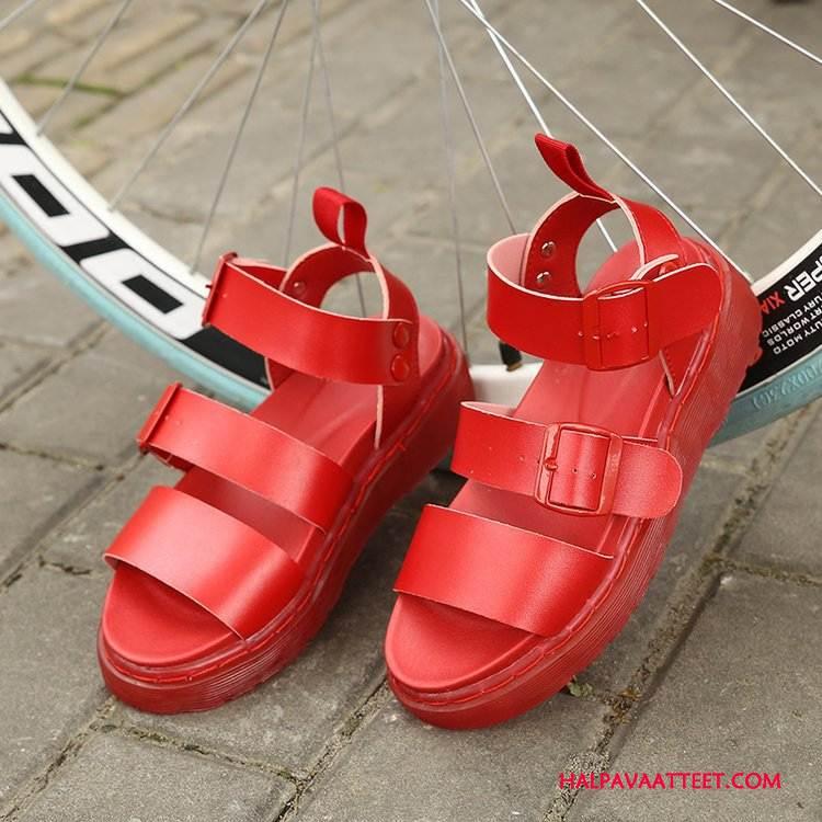 Naisten Sandaalit Verkossa Rooma Tasainen Kengät Kesä Naisille Punainen