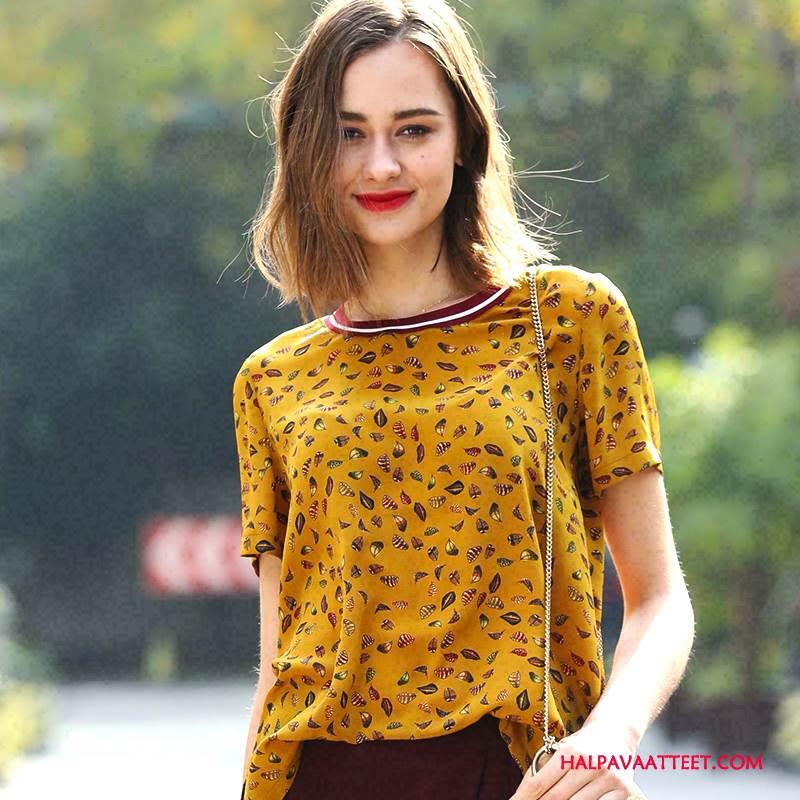 Naisten Silkkimekko Verkossa Ihana Katu Taide Kevät Pullover Keltainen