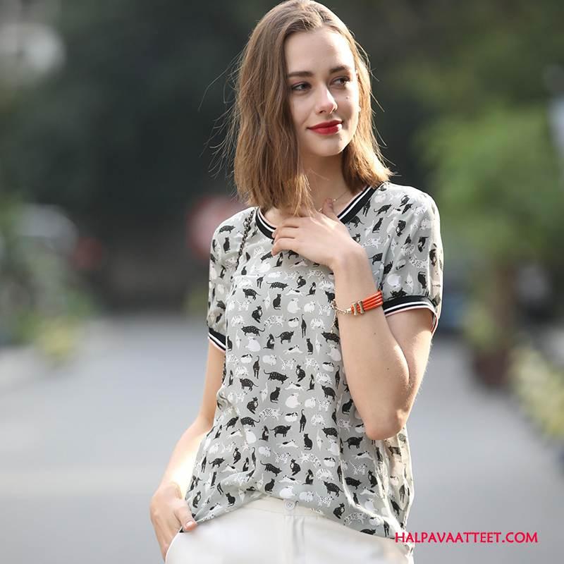 Naisten Silkkimekko Verkossa Suuntaus Lyhythihainen Tyylikäs Eläin Kevät Valkoinen