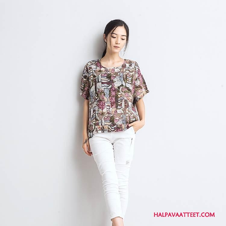 Naisten T-paidat Myynti Suora Holkki Löysät Kesä Kukka Pinkki Punainen