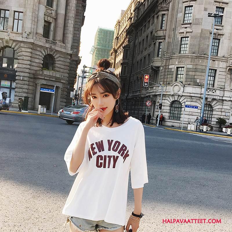 Naisten T-paidat Verkossa Elinvoimaisuus Kevät Nuoret Ohut Tyylikäs Valkoinen
