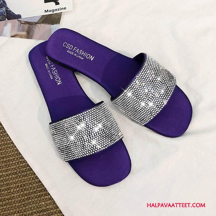 Naisten Tohvelit Myynti Makea Litteät Kengät Ultra Strassi Naisille Violetti Tumman