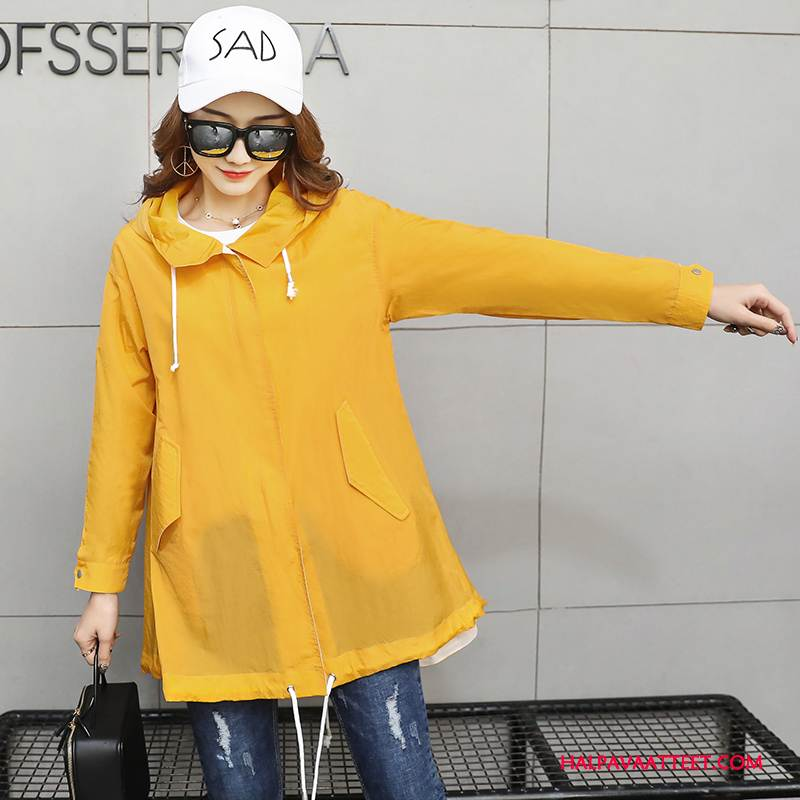 Naisten Uv Vaatteet Halvat Kevät Pitkät Hihat Tyylikäs Aurinkosuojatuotteet Löysät Keltainen