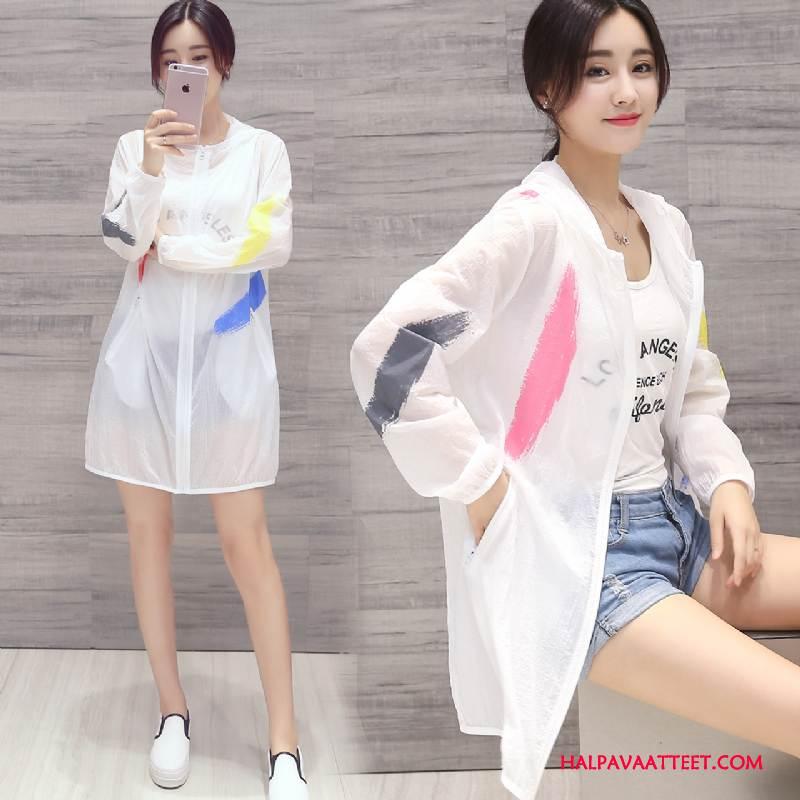 Naisten Uv Vaatteet Osta Tasku Löysät Pitkät Hihat Aurinkosuojatuotteet Kesä Valkoinen