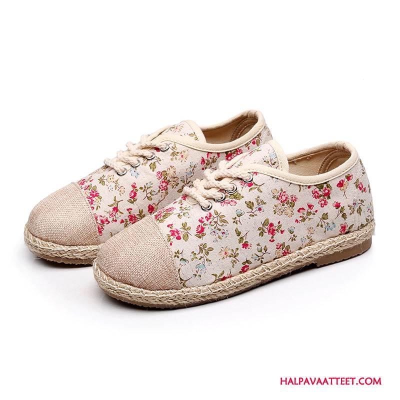 Naisten Vapaa-ajan Kengät Halvat Kukka Naisille Derbies Tasainen Olki Punainen